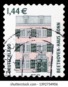 MOSCOW, RUSSIA - MARCH 23, 2019: Postage stamp printed in Germany shows Beethoven House, Bonn, Sights serie, circa 2003