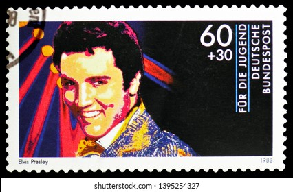 MOSCOW, RUSSIA - MARCH 23, 2019: Postage stamp printed in Germany, Federal Republic shows Elvis Presley, Youth: Idols of rock and pop music serie, circa 1988