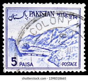 MOSCOW, RUSSIA - MARCH 23, 2019: Postage stamp printed in Pakistan shows Khyber Pass, Country Views serie, circa 1963