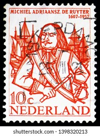MOSCOW, RUSSIA - MARCH 23, 2019: Postage stamp printed in Netherlands shows Michiel Adriaanszoon de Ruyter (1607-76) admiral, serie, circa 1957