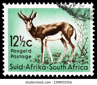 MOSCOW, RUSSIA - MARCH 23, 2019: Postage stamp printed in South Africa shows Springbok (Antidorcas marsupialis), Definitive Issue - Decimal Issue serie, circa 1961