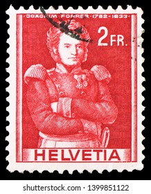 MOSCOW, RUSSIA - MARCH 23, 2019: Postage stamp printed in Switzerland shows Colonel Joachim Forrer (1782-1833), Historical representations serie, circa 1959