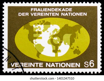 MOSCOW, RUSSIA - MARCH 23, 2019: Postage stamp printed in United Nations Organization, Vienna shows Women's decade, serie, circa 1980