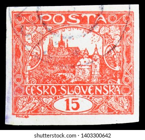MOSCOW, RUSSIA - MARCH 23, 2019: Postage stamp printed in Czechoslovakia shows Prague Castle, Hradcany at Prague serie, circa 1919