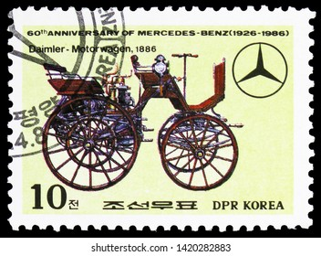 MOSCOW, RUSSIA - MARCH 23, 2019: Postage stamp printed in Korea shows Daimler-Motorwagen, 1886, 60th Anniversary of Mercedes-Benz serie, circa 1986