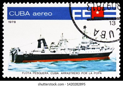 "MOSCOW, RUSSIA - MARCH 23, 2019: Postage stamp printed in Cuba shows Stern trawler ""Mar Caribe"", Cuban Fishing Fleet serie, circa 1978"