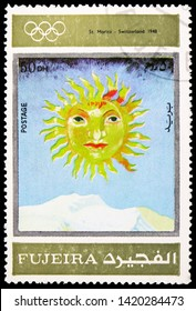 MOSCOW, RUSSIA - MARCH 23, 2019: Postage stamp printed in United Arab Emirates, Fujairah, shows St.Moritz 1948, Winter Olympics 1924-1972, Advertising posters serie, circa 1972