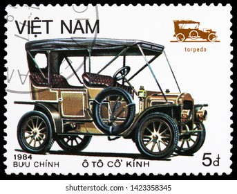 MOSCOW, RUSSIA - MARCH 23, 2019: Postage stamp printed in Vietnam shows Torpedo, Old Automobiles serie, circa 1984