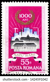 MOSCOW, RUSSIA - MARCH 23, 2019: Postage stamp printed in Romania shows Old and new buildings in Satu-Mare, Satu-Mare Millenium serie, circa 1972