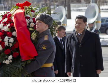 MOSCOW, RUSSIA - MARCH 23: Chinese President Xi Jinping attends a wreath laying ceremony at the Tomb of Unknown Soldier, on March 22, 2013 in Moscow.