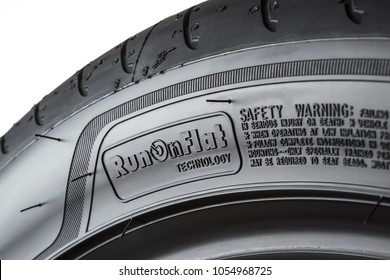MOSCOW, RUSSIA - MARCH 24, 2018: Summer car tire Eagle F1 Asymmetric 3 RunFlat 255/40 R18 95Y (RunFlat) brand of the company Goodyear, isolated on white background. Goodyear is an American internation