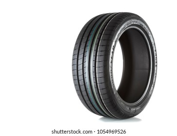 MOSCOW, RUSSIA - MARCH 24, 2018: Summer car tire Eagle F1 Asymmetric 3 RunFlat 255/40 R18 95Y (RunFlat) brand of the company Goodyear, isolated on white background.