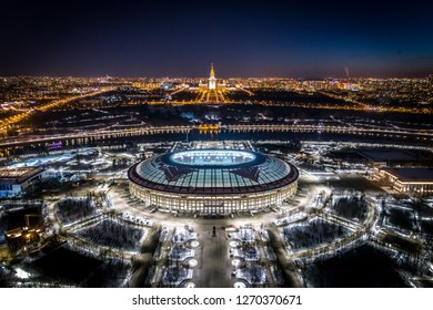 MOSCOW, RUSSIA - MARCH 24, 2018: An aerial view of the Luzhniki Stadium and Moscow State University