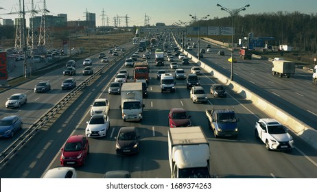MOSCOW, RUSSIA - MARCH 24, 2020. Aerial view of long traffic jam on the Moscow Ring Road, a major city's highway