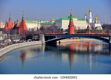MOSCOW, RUSSIA - MARCH 25, 2014: View of the Kremlin Embankment and Moscow cathedrals