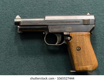 "MOSCOW, RUSSIA - MARCH 25, 2016: German compact self-loading pistol ""Mauser"" sample 1934 in the museum on Petrovka, 38, Main Department of the Ministry of Internal Affairs of Moscow."