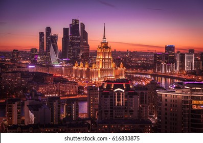 MOSCOW, RUSSIA - MARCH 25, 2017: Hotel Ukraine and Moscow city buildings