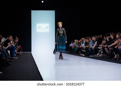 MOSCOW, RUSSIA - MARCH 26, 2017: Model walk runway for RINA K by EKATERINA ROMANOVA catwalk at Autumn-Winter 2017-2018 Moscow Fashion Week.