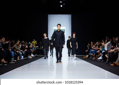 MOSCOW, RUSSIA - MARCH 26, 2017: Model walk runway for DANIIL LANDAR catwalk at Autumn-Winter 2017-2018 Moscow Fashion Week. Men's fashion