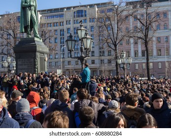MOSCOW, RUSSIA - MARCH 26, 2017: Meeting against corruption in Moscow. Organized by Opposition leader Alexei Navalny on Tverskaya Street