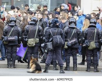 Moscow, Russia - March, 26, 2017: Police on a protest demonstration in Moscow, Russia