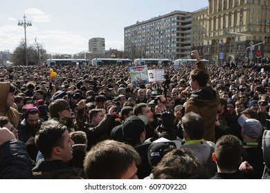 MOSCOW, RUSSIA - MARCH 26, 2017:  Muscovites gather at Pushkin Square in downtown Moscow to protest against corruption in Putin's government.
