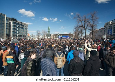 MOSCOW, RUSSIA - MARCH 26, 2017: Meeting anti-corruption in Moscow. Organized by Opposition leader Alexei Navalny on Tverskaya Street