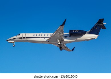 Moscow, Russia - March 26, 2019: Aircraft Embraer EMB-135BJ Legacy 650E D-ATOP of Air Hamburg against blue sky in sunny morning going to landing at Vnukovo international airport in Moscow