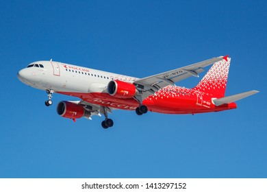 Moscow, Russia - March 26, 2019: Aircraft Airbus A320-214 VP-BZQ of Rossiya - Russian Airlines against blue sky in sunny morning going to landing at Vnukovo international airport in Moscow