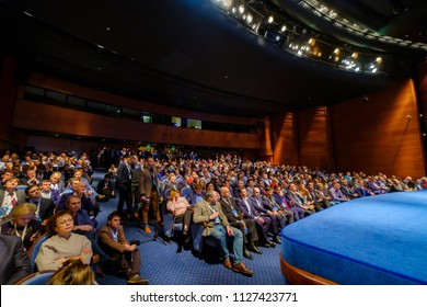 Moscow, Russia - March 27, 2018: People attend blockchain conference in congress hall