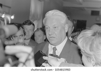 Moscow, Russia - March 28, 1991: Chairman of the Presidium of the Supreme Soviet of the Russian SFSR Boris Nikolayevich Yeltsin at 3d extraordinary Congress of people's deputies of russian RSFSR.