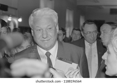 Moscow, Russia - March 28, 1991: Chairman of the Presidium of the Supreme Soviet of the Russian SFSR Boris Nikolayevich Yeltsin talks to correspondents at 3d extraordinary Congress of PDs.