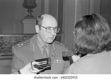 Moscow, Russia - March 28, 1991: People's deputy colonel Nikolai Semyonovich Petrushenko talks to correspondent at 3d extraordinary Congress of people's deputies of russian RSFSR.