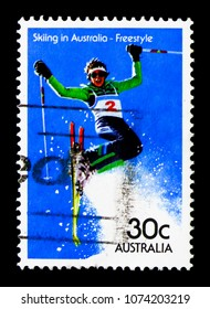 MOSCOW, RUSSIA - MARCH 28, 2018: A stamp printed in Australia shows Freestyle, Skiing serie, circa 1984