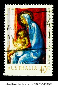 MOSCOW, RUSSIA - MARCH 28, 2018: A stamp printed in Australia shows Madonna & Child - Christmas ( Toscani ), Christmas 1994 serie, circa 1994