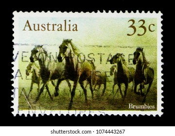 MOSCOW, RUSSIA - MARCH 28, 2018: A stamp printed in Australia shows Brumbies (Wild Horses), Horses serie, circa 1986