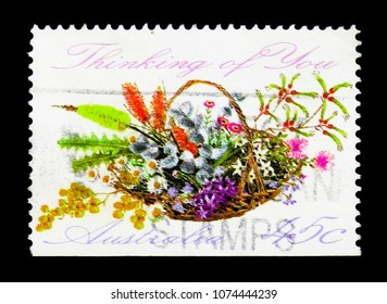 MOSCOW, RUSSIA - MARCH 28, 2018: A stamp printed in Australia shows Bouquette, Thinking of You, Greetings Stamps serie, circa 1992