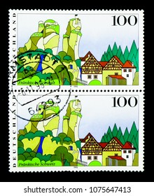 MOSCOW, RUSSIA - MARCH 28, 2018: A stamp printed in German Federal Republic shows Franconian Switzerland, Views from Germany serie, circa 1995