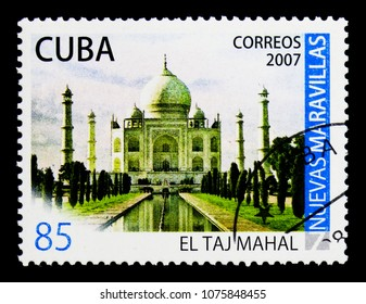 MOSCOW, RUSSIA - MARCH 28, 2018: A stamp printed in Cuba shows Taj Mahal in Agra, India, New Wonders of the world serie, circa 2007