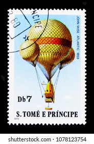 "MOSCOW, RUSSIA - MARCH 28, 2018: A stamp printed in Sao Tomea and Principe shows John Wise ""Atlantic"", 1859, Ballons serie, circa 1979"