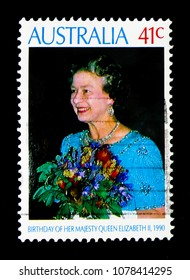 MOSCOW, RUSSIA - MARCH 28, 2018: A stamp printed in Australia shows Birthday, Queen Elizabeth II serie, circa 1990