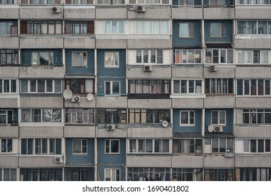 Moscow, Russia, March 28, 2020. The facade of a multi-storey building with different balconies in a residential area.