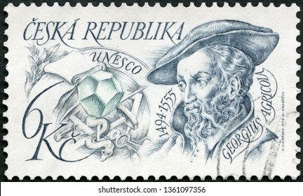 MOSCOW, RUSSIA - MARCH 29, 2019: A stamp printed in Czechoslovakia shows portrait of Georgius Agricola (1494-1555), mineralogist, humanis, UNESCO, 1994