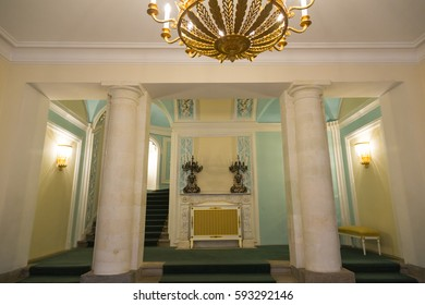 MOSCOW, RUSSIA - MARCH 3, 2017: Built in the 18th century, Petroff Palace is a gem of Russian architecture, located in the modern downtown of Moscow. Interior of the palace ensemble