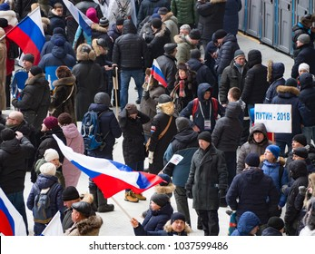 "MOSCOW, RUSSIA - March 3, 2018: A rally ""For a Strong Russia"" in Support of the Presidential Candidate Vladimir Putin"