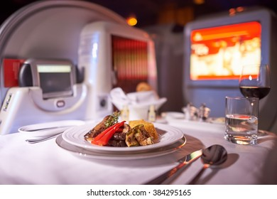 MOSCOW, RUSSIA - MARCH 30, 2015: inside of Emirates Boeing-777. Emirates is one of two flag carriers of the United Arab Emirates along with Etihad Airways and is based in Dubai.