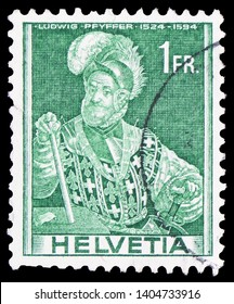 MOSCOW, RUSSIA - MARCH 30, 2019: A stamp printed in Switzerland shows Colonel Ludwig Pfyffer (1524-1594), Historical representations serie, circa 1941