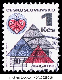 MOSCOW, RUSSIA - MARCH 30, 2019: A stamp printed in Czechoslovakia shows Moravia - Horacko, Folk Architecture serie, circa 1979