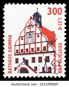 MOSCOW, RUSSIA - MARCH 30, 2019: A stamp printed in Germany shows Townhall, Grimma, Sights serie, circa 2000