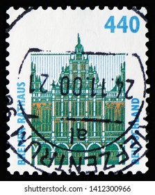 MOSCOW, RUSSIA - MARCH 30, 2019: A stamp printed in Germany shows Townhall, Bremen, Sights serie, circa 1997